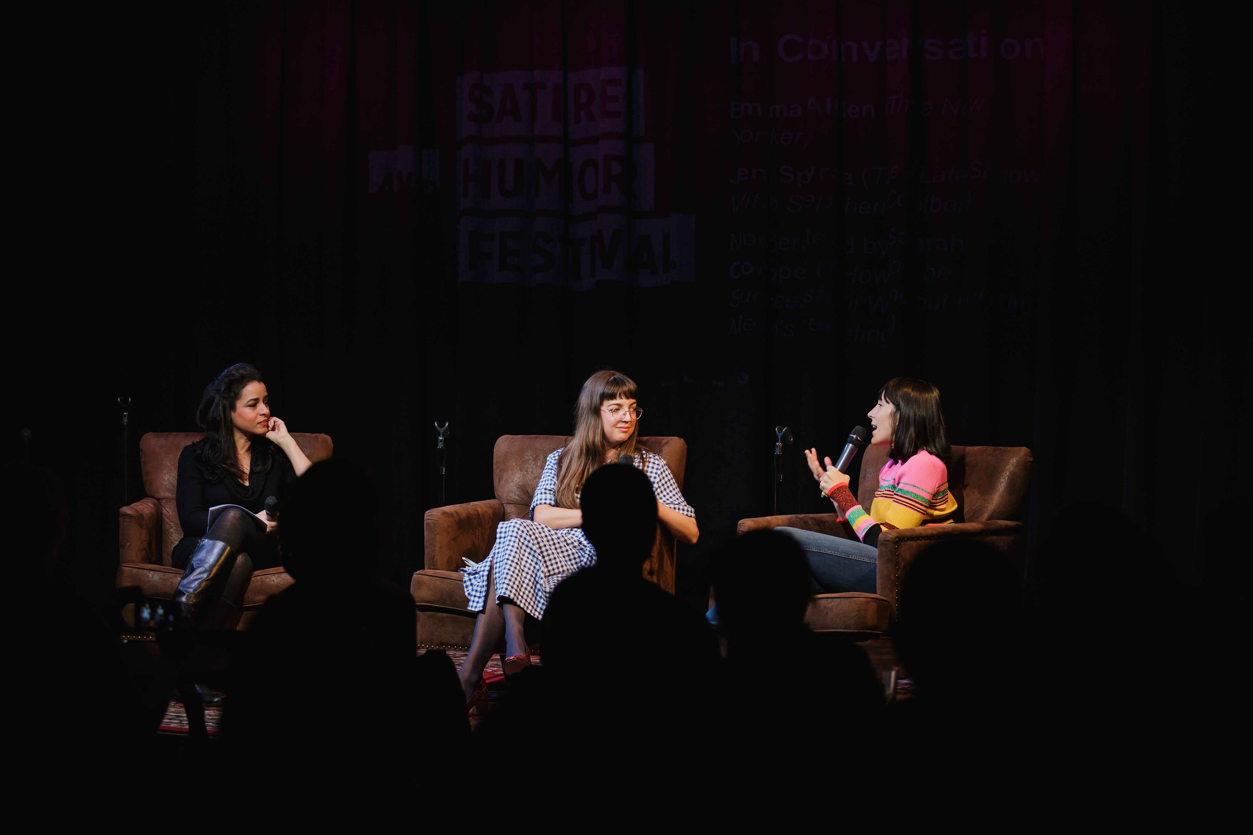 Jen Spyra, Emma Allen, and Sarah Cooper speak at a panel during 2019's festival.