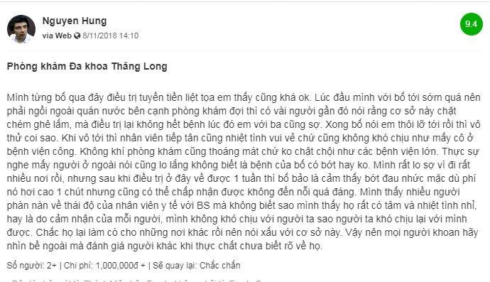 Thực hư phòng khám nam khoa Thăng Long có lừa đảo bệnh nhân không?