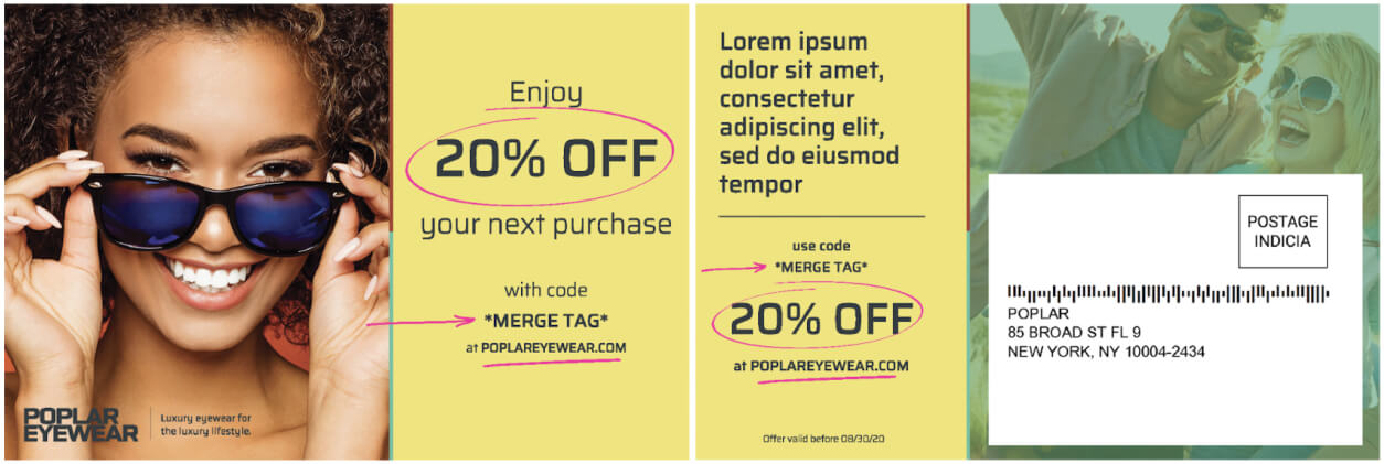 promotional examples on a direct mail postcard
