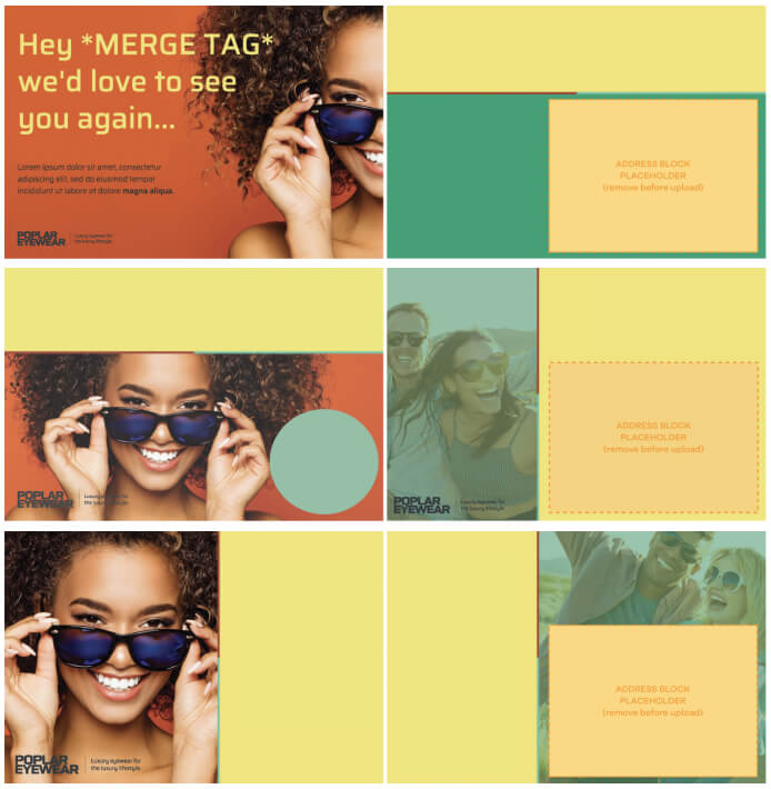 layout examples for direct mail postcard