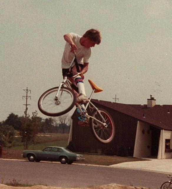 """Catching air"" on my BMX bike"