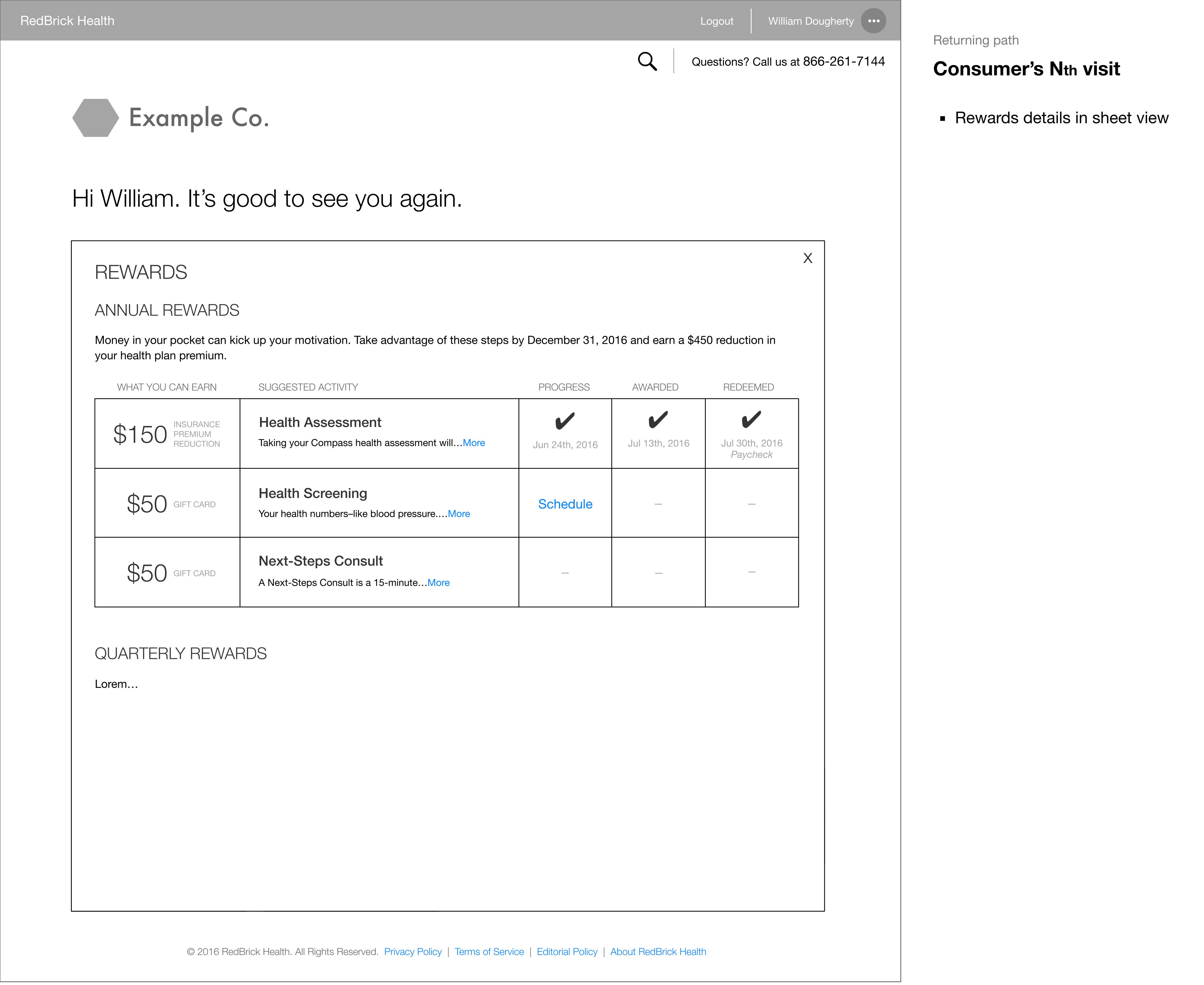 Rewards details in sheet view