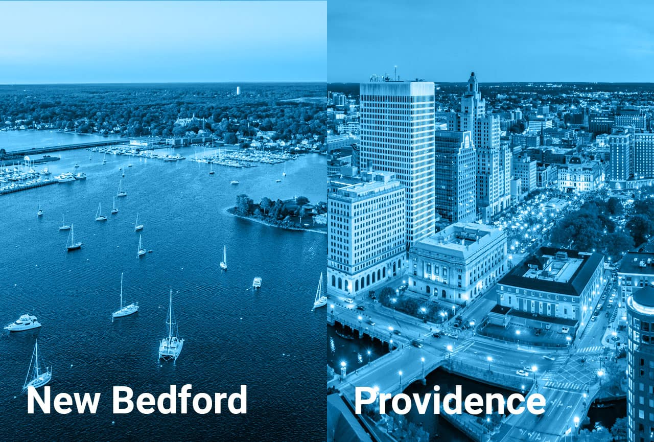 Drone shots of New Bedford, MA and Downtown Providence, RI.