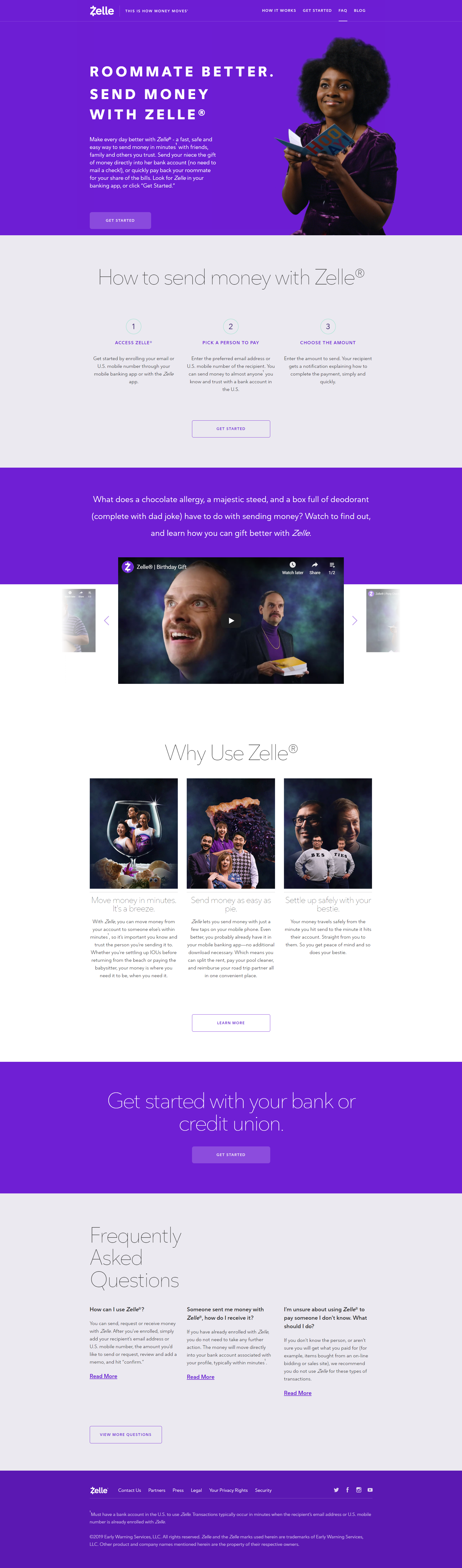 Landing page example #3 - Zelle