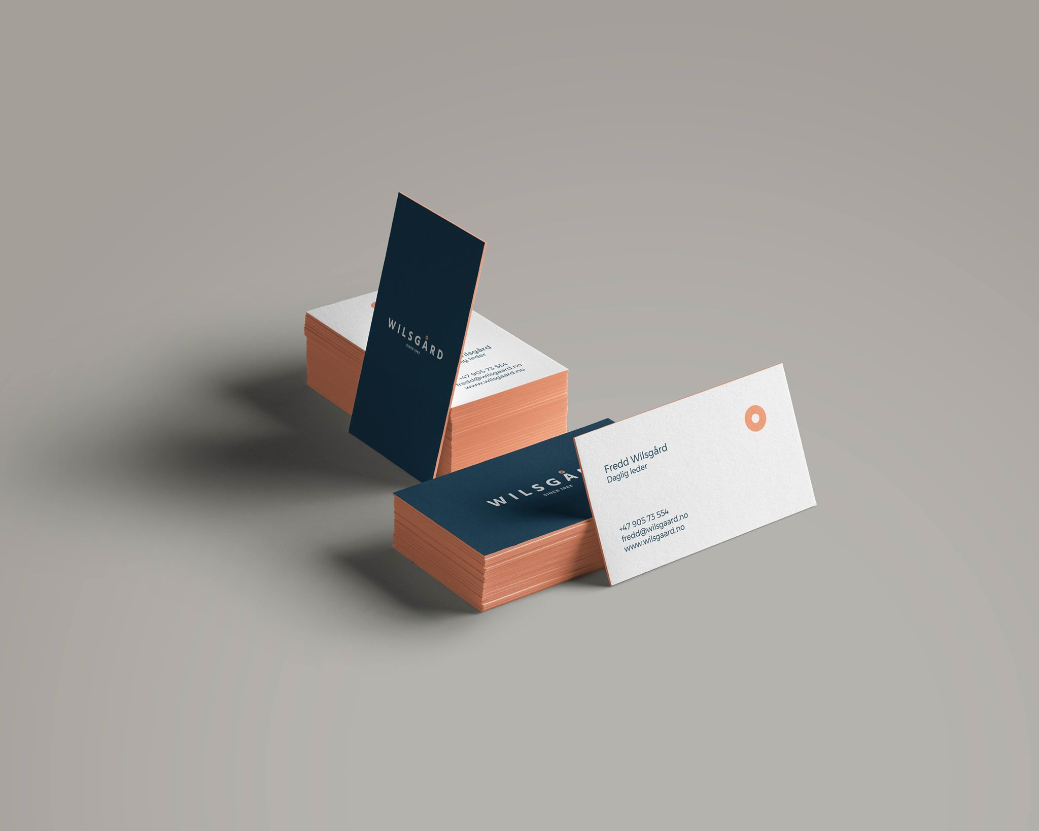 Business cards in blue