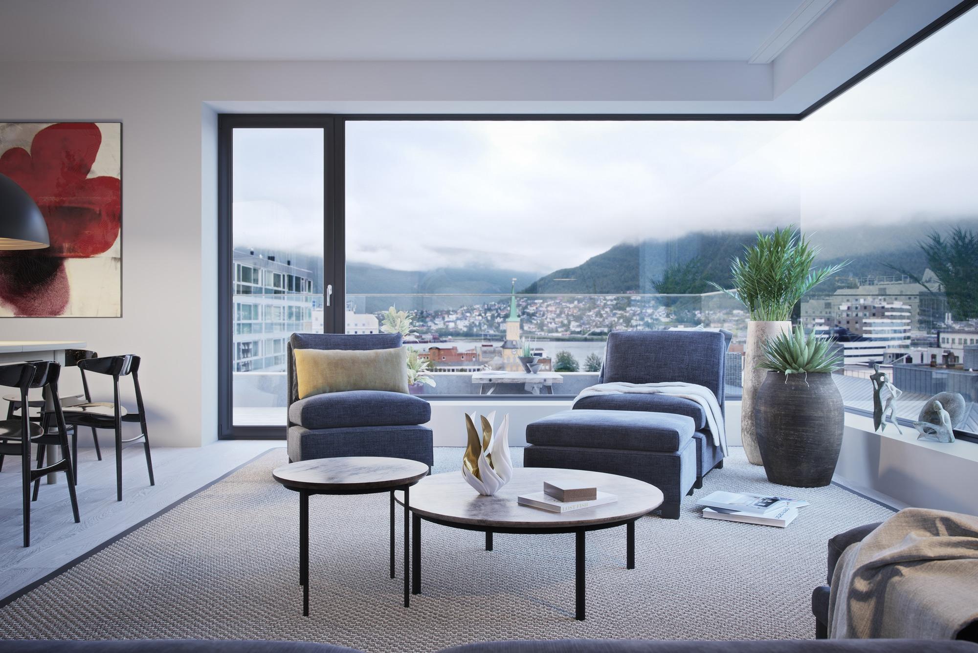 Illustrasjon av stue med utsikt fra Kongsparken