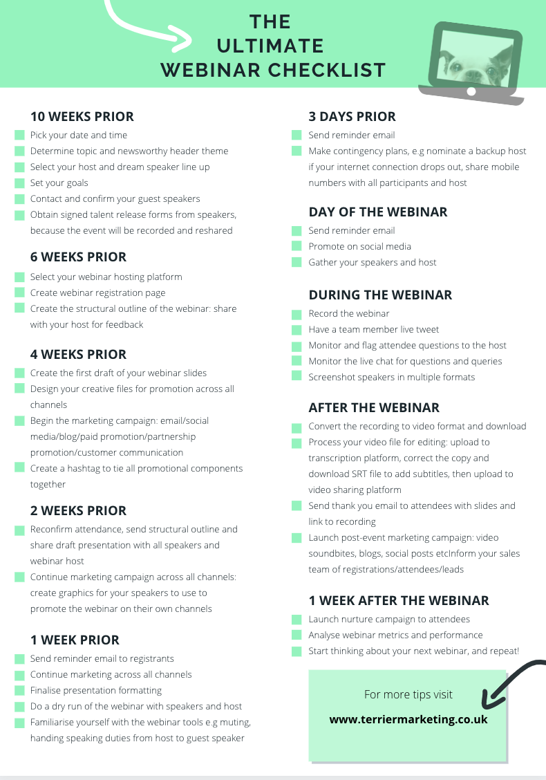 The Ultimate Webinar Checklist, Terrier style.