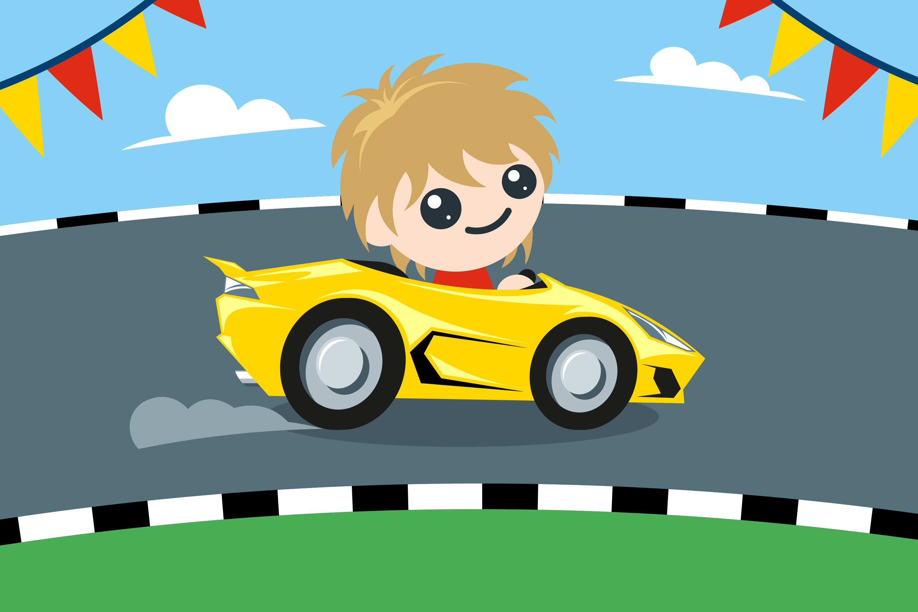 Illustration of child driving a sports car