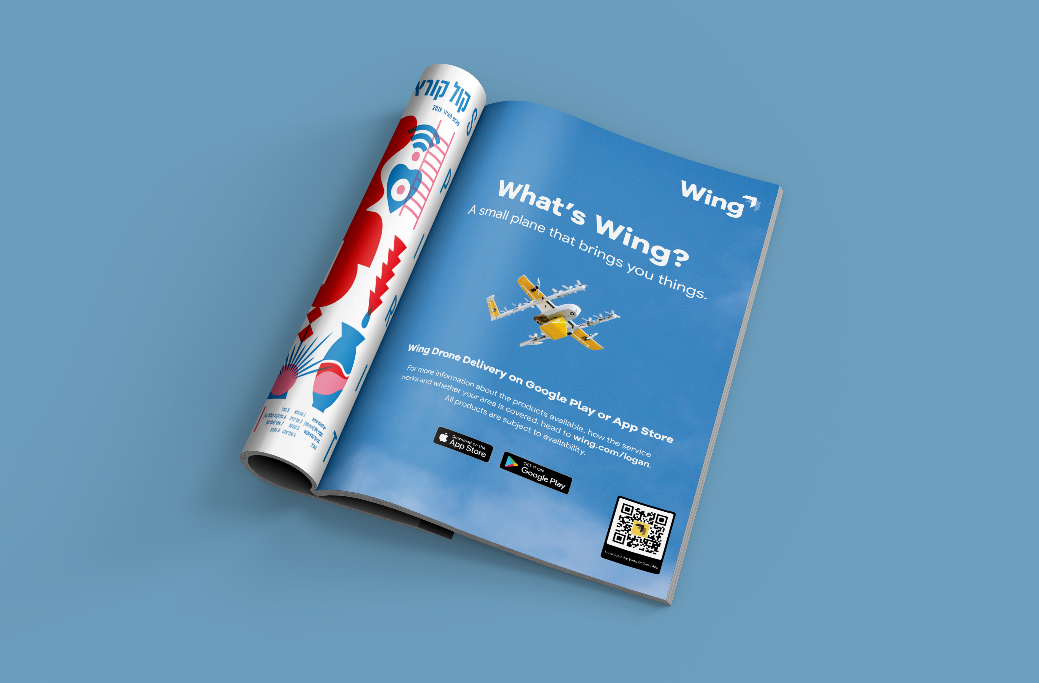"""An image of a page of a pull page spread in A5 magazine. The page has a half-page print ad featuring photography of the Wing commercial drone. The ad reads, """"What's Wing? A small plane that brings you things."""""""