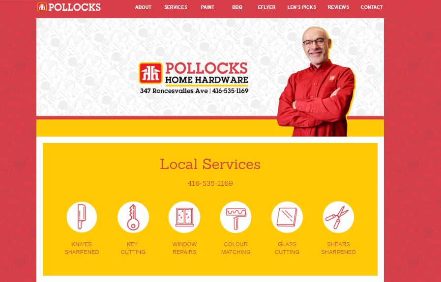 A Webflow website was designed for Pollocks Home Hardware to profile their repair service, blogging news, integration into a woo-commerce barbecue site and google reviews.