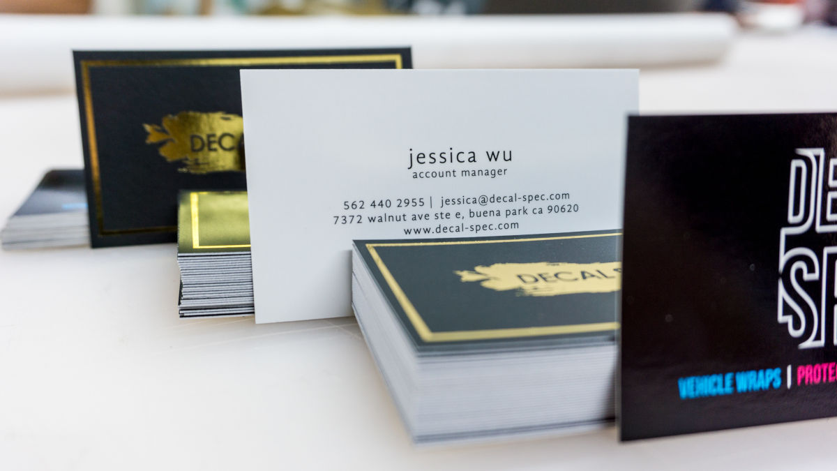 business card stock decal spec