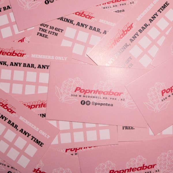 popntea diamond bars business card decal spec