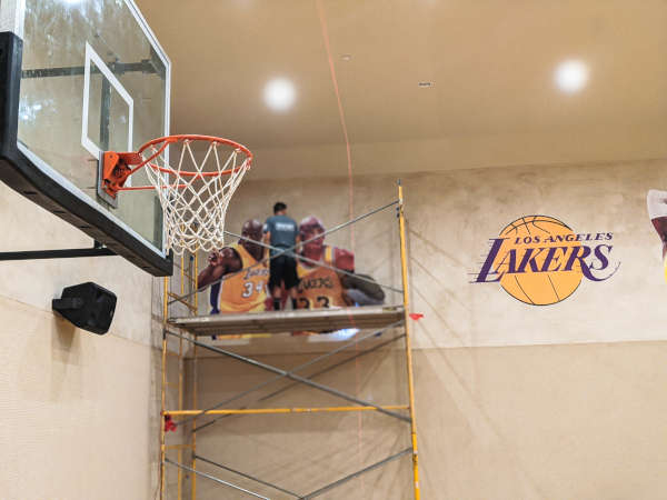 custom install basketball court lakers wall mural shaq kareem