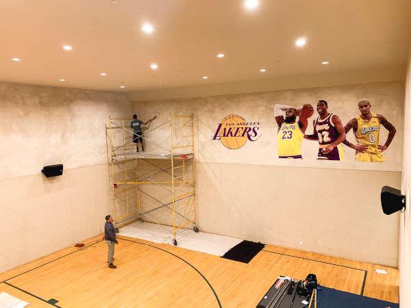 custom install lakers wall mural lebron magic kuzma