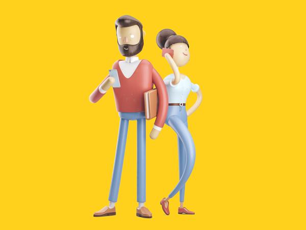 Ilustração de um homem e uma mulher lado a lado, ele com um celular na mão e ela falando ao celular