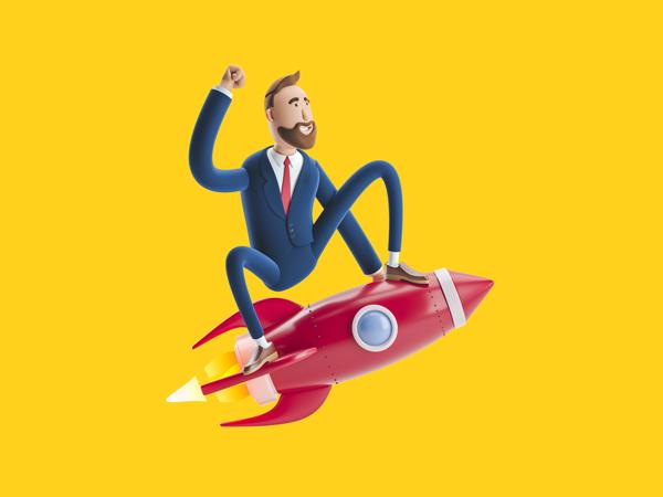 Ilustração de um homem sentado em um foguete voando