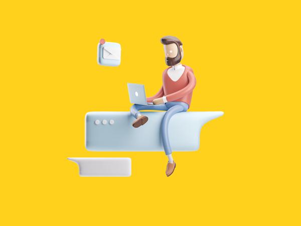Ilustração de um homem sentado em um balão de fala de chat com um notebook no colo