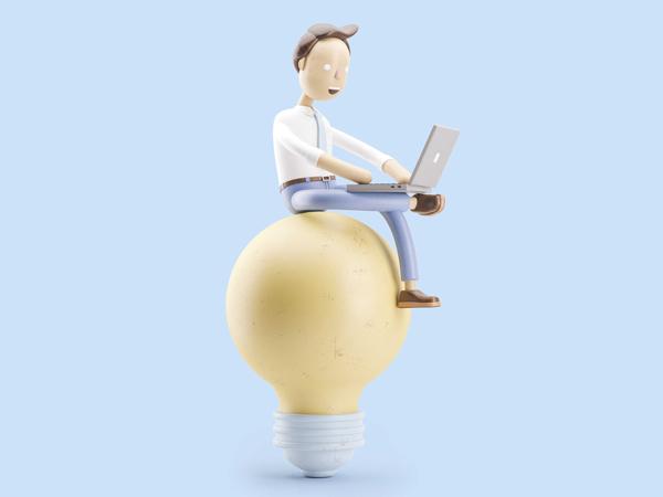 Ilustração de um homem sentado sobre uma lâmpada com um notebook no colo