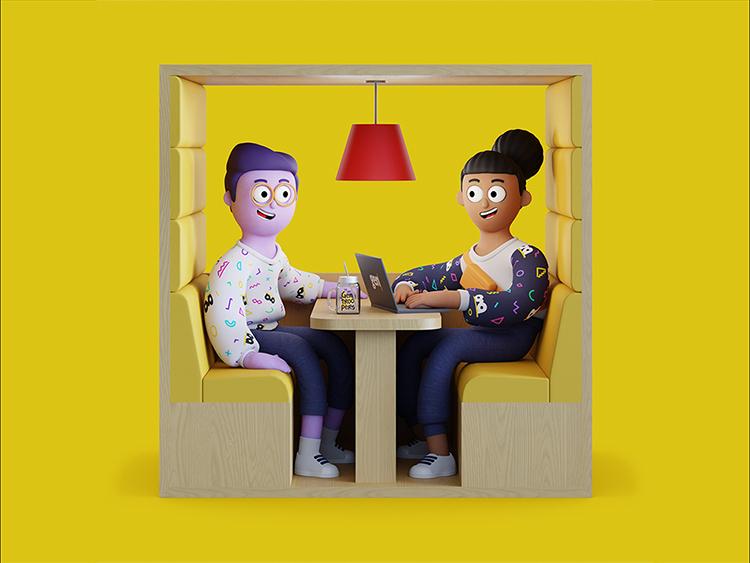 Ilustração de um homem sentado em um banquinho de madeira com um notebook no colo