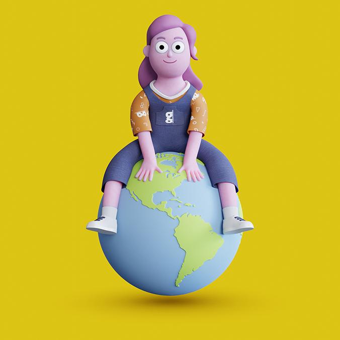 Ilustração de uma mulher sentada em um globo.