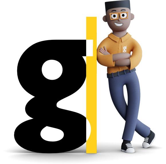 Mascote da Gentrop Gael apoiado no G da redução do logo.