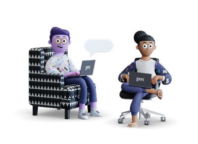 Ilustração 3d de um homem e uma mulher sentados em uma poltrona e cadeira, respectivamente, segurando notebooks com o logo da gentrop.