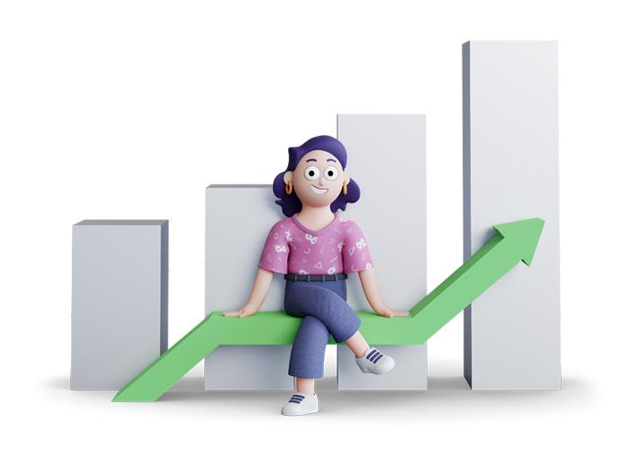 Ilustração 3d de uma mulher apoiada em um gráfico de barras em crescimento