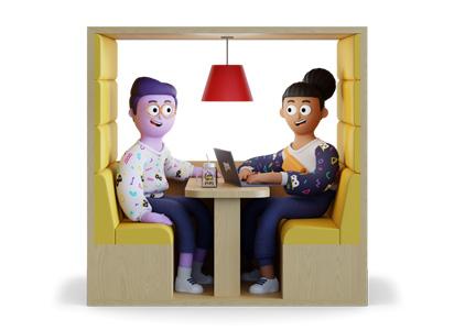Ilustração 3D de um homem e uma mulher sentados conversando no escritório da Gentrop