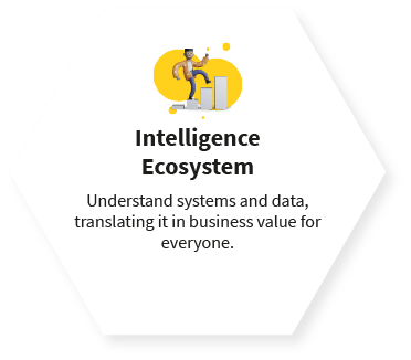 Intelligence Ecosystem Understand systems and data, translating it in business value for everyone.