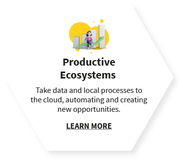 Productive Ecosystems  Take data and local processes to the cloud, automating and creating new opportunities. LEARN MORE
