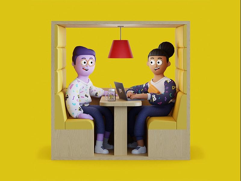 Ilustração um homem e uma mulher em reunião na Gentrop