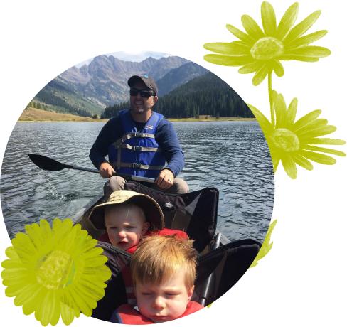Kids on a canoe
