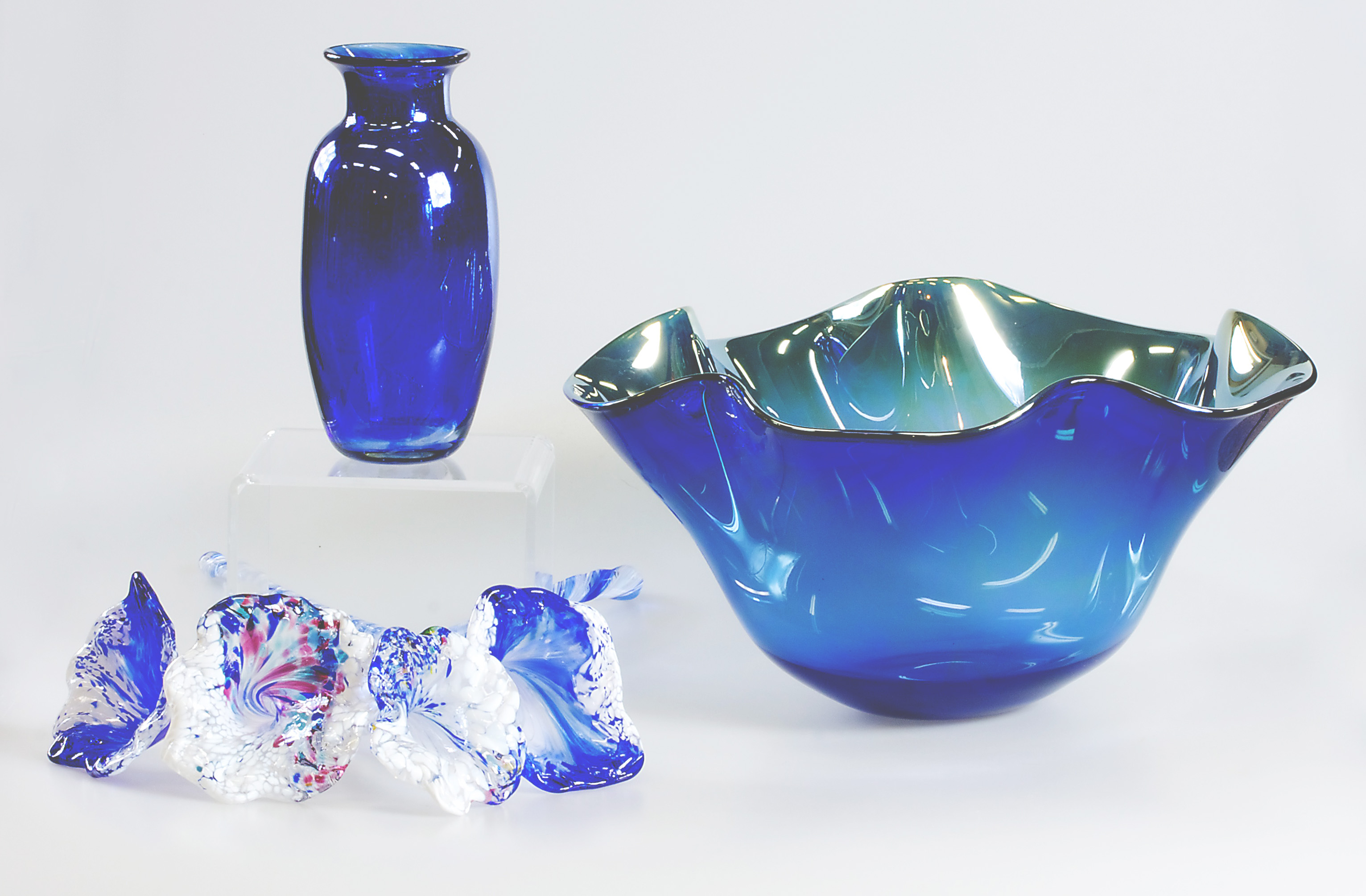 Handmade glass pieces at Inspired Fire Glass Studio & Gallery