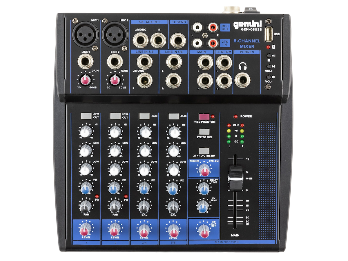 Gemini GEM08USB Mixer with Bluetooth