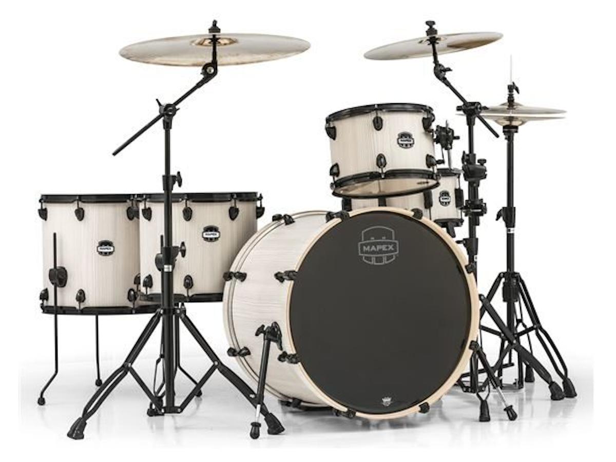 Mapex MA528SF Mars Crossover Drum Shell Kit, 5-Piece, Bonewood - Black Rims