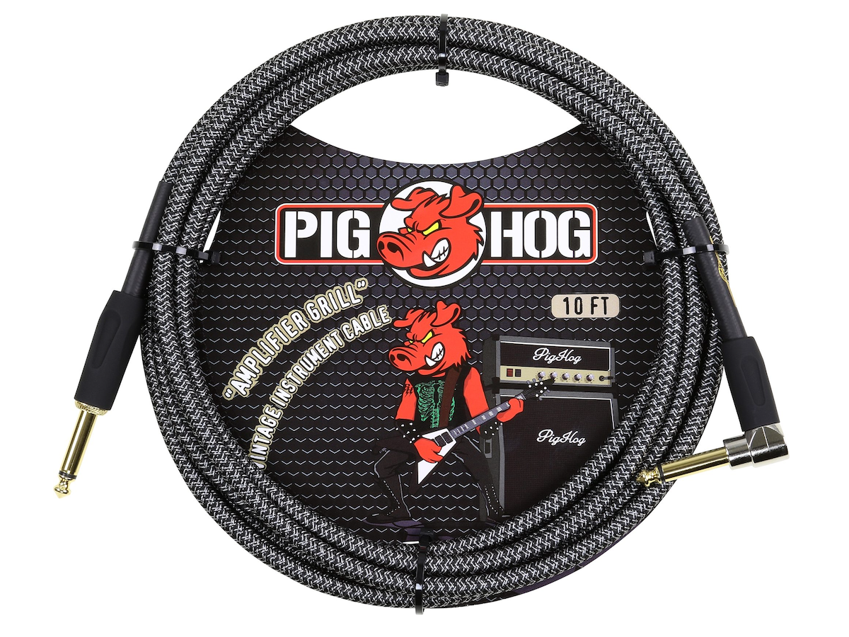 "Pig Hog Color Instrument Cable, 1/4"" Straight to 1/4"" Right Angle, Amp Grill, 10'"