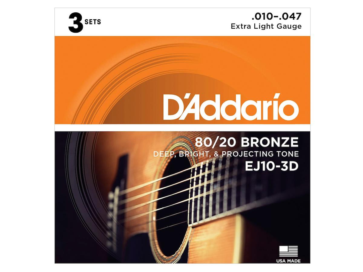 D'Addario 80/20 Bronze Acoustic Guitar Strings, 10-47, EJ10, Extra Light, 3-Pack