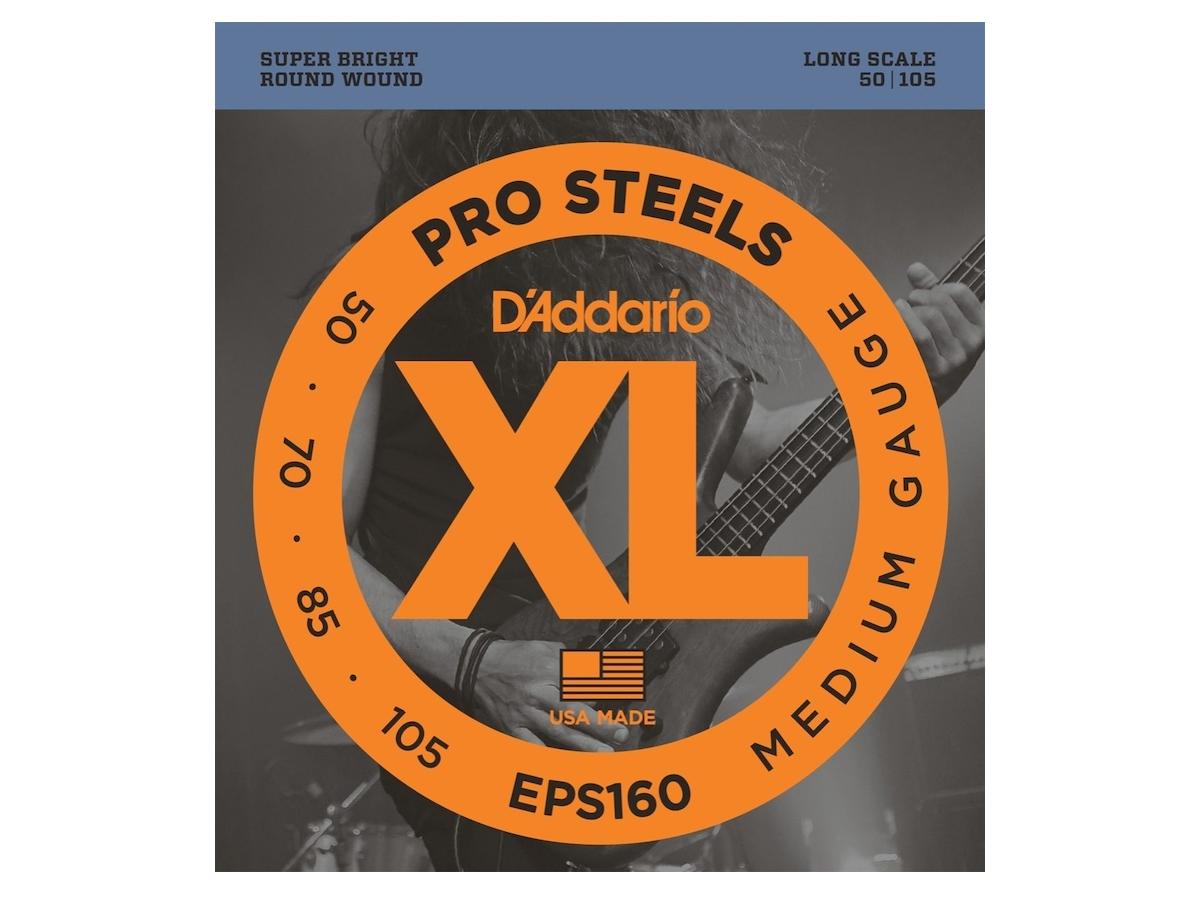 D'Addario EPS160 XL ProSteels Medium Gauge/Long Scale Bass Strings