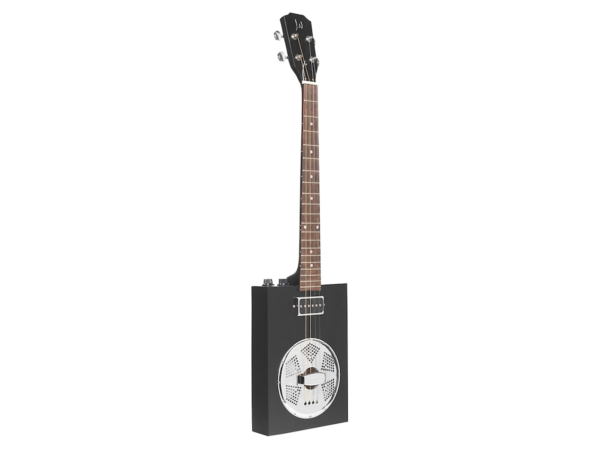 JN Guitars Acoustic-Electric Cigar Box Guitar with Resonator Black