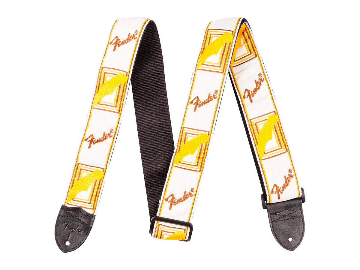 "Fender 2"" Monogrammed Guitar Strap  White, Brown, and Yellow"