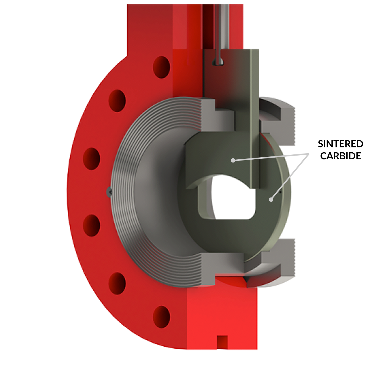 Smaller SlurryFlo Control Valve trims are made entirely of sintered tungsten carbide.