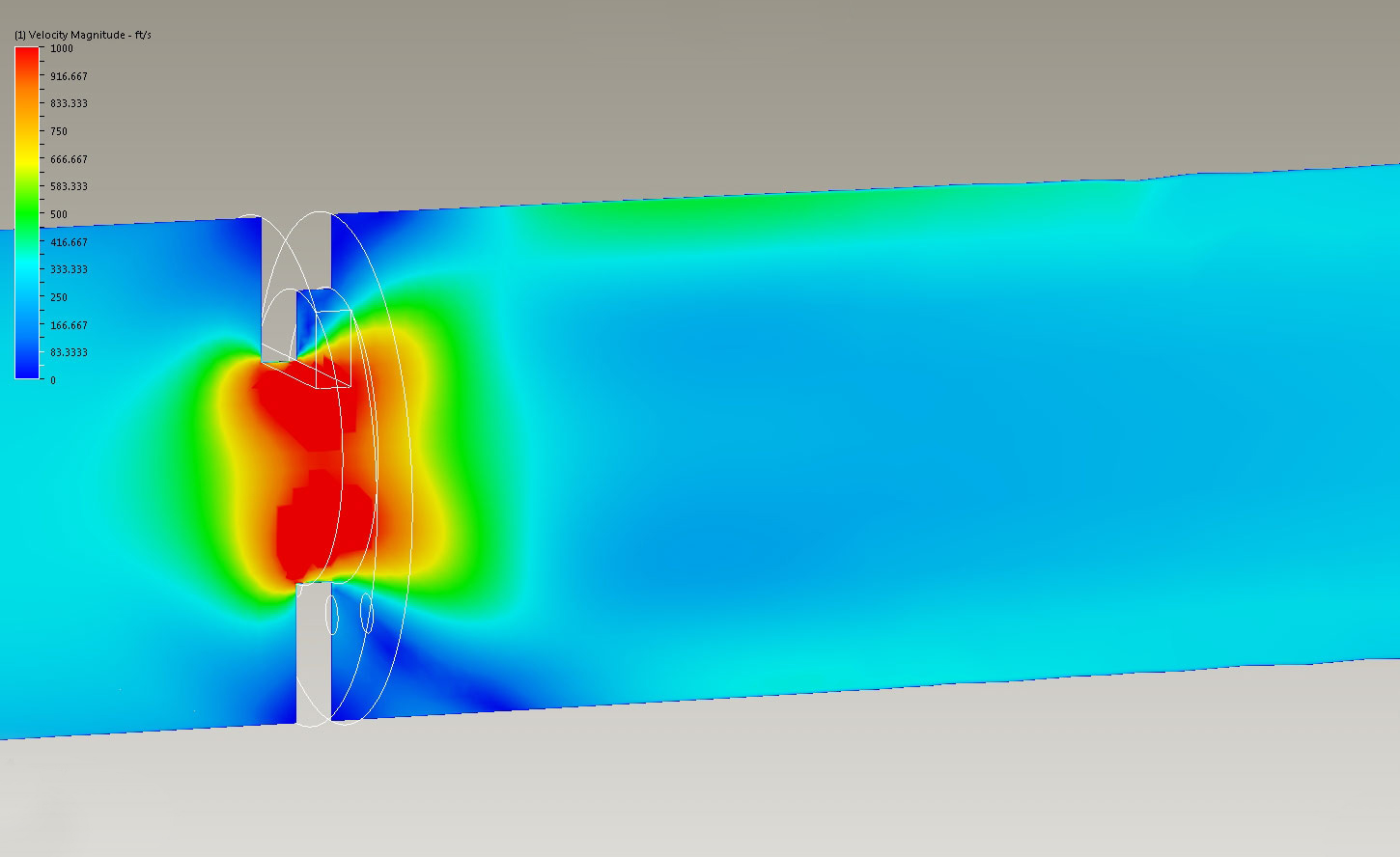 CFD simulation for flow conditions through the large centered orifice.