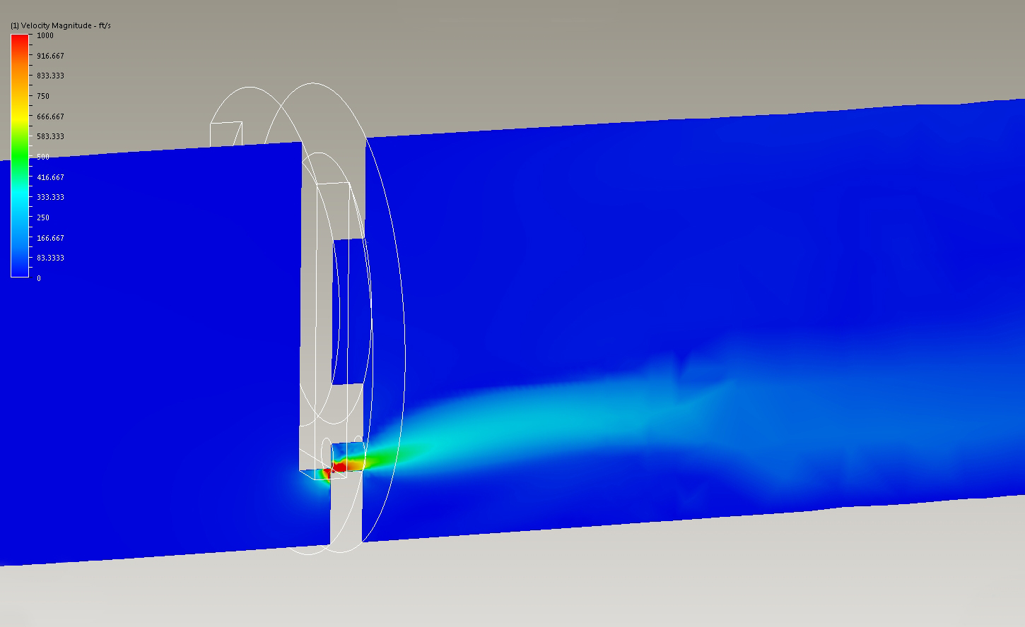 CFD simulation displaying the flow conditions for the two small orifices.