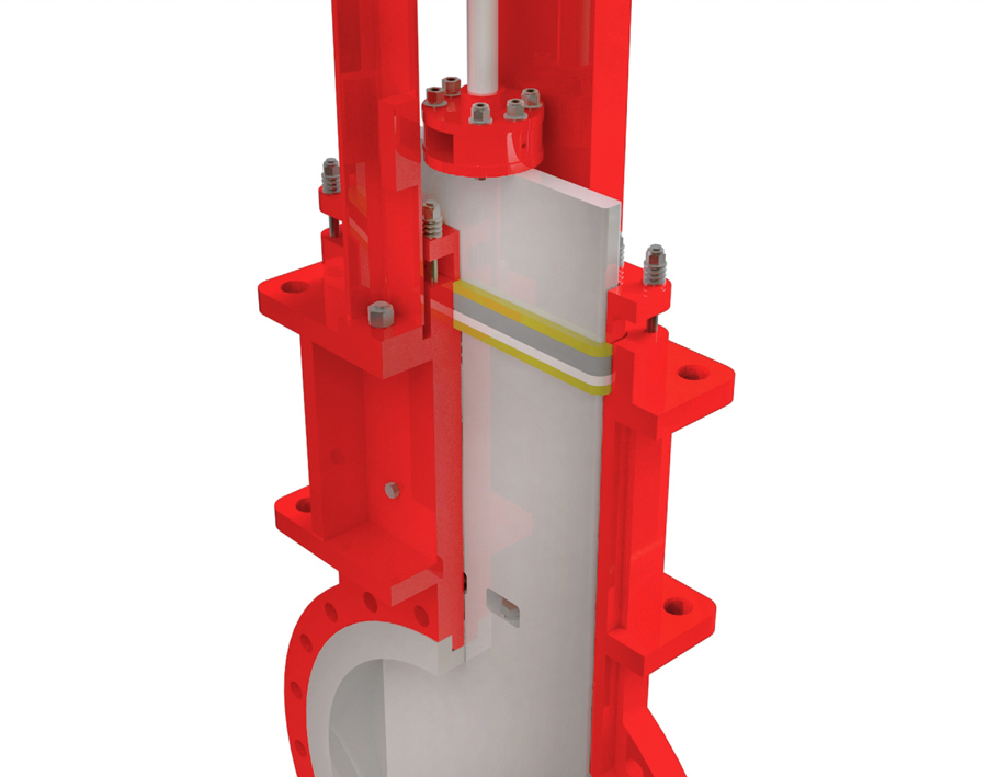 SlurryFlo control valve with an open bonnet design.