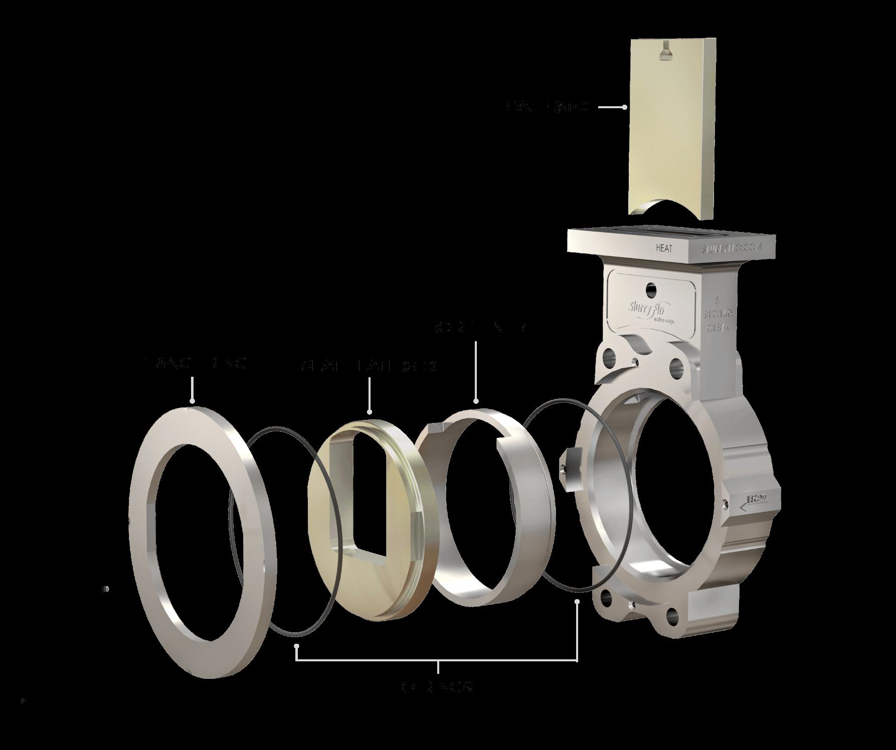 SlurryFlo control cast valve - labelled parts and materials.