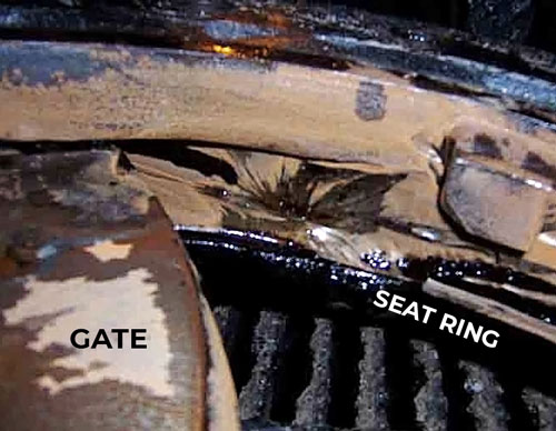 Knife gate valve wear on Hardox gate and seat ring