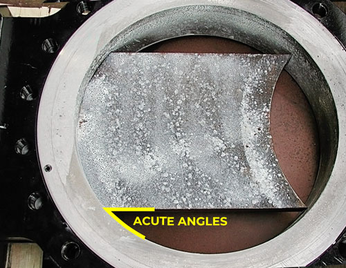 Acute angles between gate and bore liners valve