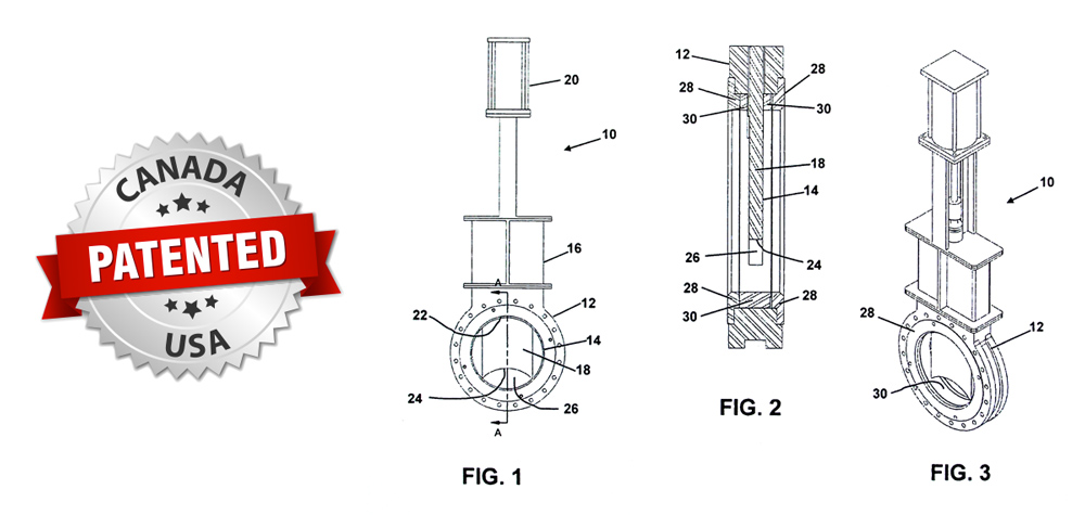 SlurryFlo control valve technology is patented in Canada and United States.
