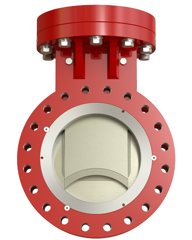 SlurryFlo Control Valve in fully closed position.