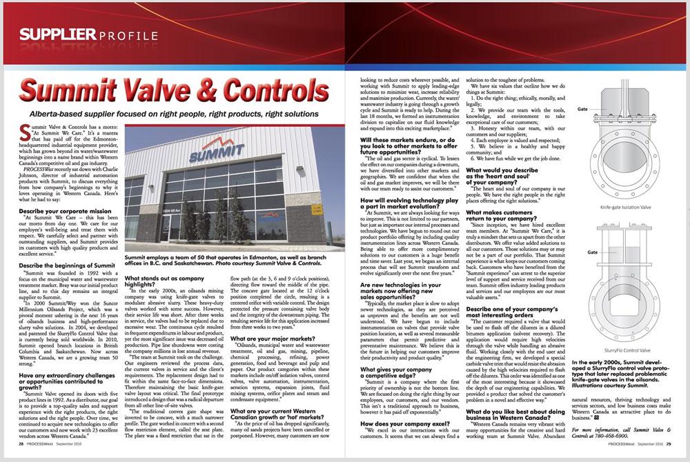 Summit Valve and Controls Magazine Feature